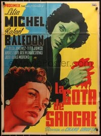 4c040 LA GOTA DE SANGRE Mexican poster 1950 Chano Urueta, a drop of blood, cool crime art!