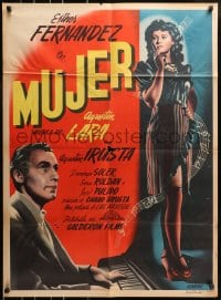 4c041 MUJER Mexican poster 1947 Chano Urueta, full-length sexy woman with musical notes!