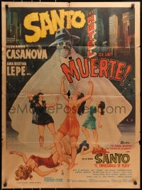 4c045 SANTO EN EL HOTEL DE LA MUERTE Mexican poster 1963 art of sexy women and caped skelton!