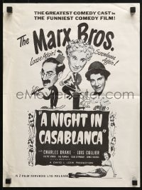 4c275 NIGHT IN CASABLANCA New Zealand R1970s wacky art of Marx Brothers, Groucho, Chico & Harpo!