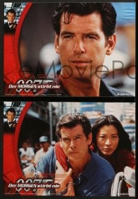4c012 TOMORROW NEVER DIES 8 German LCs 1997 cool images of Pierce Brosnan as James Bond 007!