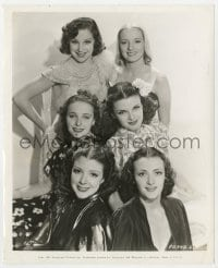 4d332 EVELYN KEYES  8.25x10 still 1937 posed portrait with five other pretty Paramount starlets!