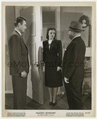 4d337 FALCON'S ADVENTURE  8.25x10 still 1946 Madge Meredith between Tom Conway & Joseph Crehan!