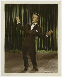 4d043 JOLSON STORY color 8x10 still 1946 full-length portrait of Larry Parks on stage in tuxedo!
