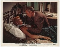 4d047 MAN WHO KNEW TOO MUCH color 8x10 still 1956 c/u of James Stewart comforting Doris Day in bed!