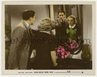 4d057 SECOND FIDDLE color 8x10.25 still 1939 ice skater Sonja Henie & Tyrone Power by mirror!