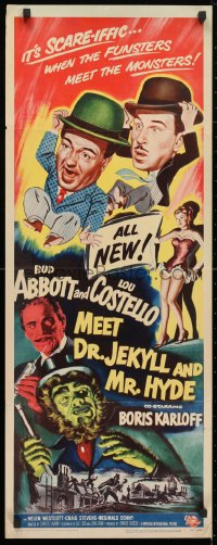 4f001 ABBOTT & COSTELLO MEET DR. JEKYLL & MR. HYDE insert 1953 Bud & Lou, scary Boris Karloff!