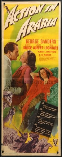 4f004 ACTION IN ARABIA insert 1944 George Sanders & Virginia Bruce in the land of intrigue!
