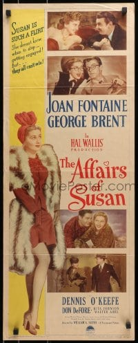 4f007 AFFAIRS OF SUSAN insert 1945 full-length image of sexy Joan Fontaine in pretty dress!