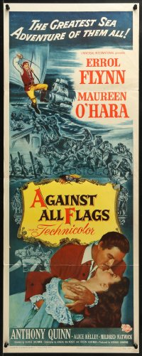4f008 AGAINST ALL FLAGS insert 1952 pirate Anthony Quinn, Flynn w/swashbuckling Maureen O'Hara!