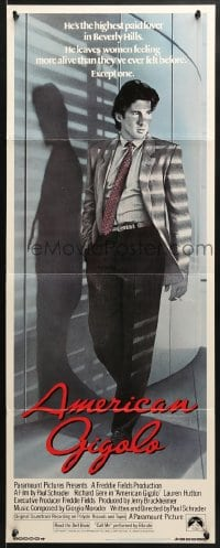 4f009 AMERICAN GIGOLO int'l insert 1980 male prostitute Richard Gere framed for murder!