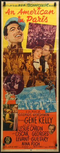 4f003 AMERICAN IN PARIS insert 1951 different montage of Gene Kelly & Leslie Caron dancing!