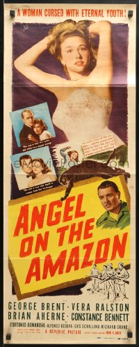 4f010 ANGEL ON THE AMAZON insert 1948 George Brent, Vera Ralston, panther attack, red title design!