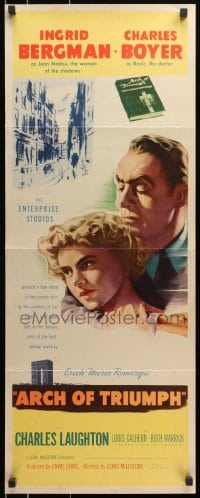 4f011 ARCH OF TRIUMPH insert 1947 Ingrid Bergman, Charles Boyer, novel by Erich Maria Remarque