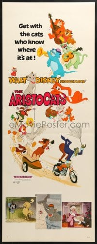 4f012 ARISTOCATS insert R1980 Walt Disney feline jazz musical cartoon, great colorful image!