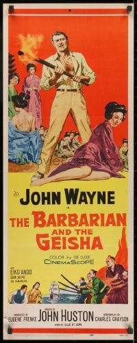 4f014 BARBARIAN & THE GEISHA insert 1958 John Huston, art of John Wayne with torch & Eiko Ando!