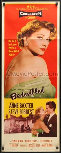 4f015 BEDEVILLED insert 1955 Steve Forrest fell in love with beautiful blue-eyed killer Anne Baxter!