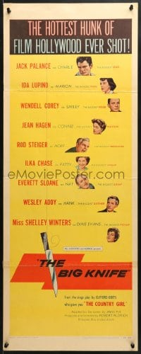 4f019 BIG KNIFE insert 1955 Aldrich, Jack Palance, Ida Lupino, Shelley Winters, Rod Steiger!