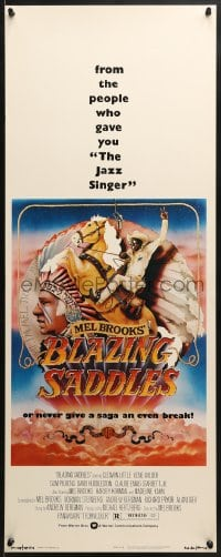 4f022 BLAZING SADDLES insert 1974 Mel Brooks western, art of Cleavon Little by Alvin & Goldschmidt!