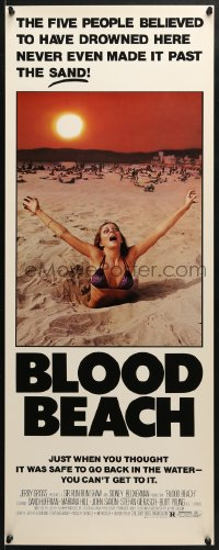 4f023 BLOOD BEACH insert 1981 Jaws parody tagline, image of sexy girl in bikini sinking in sand!
