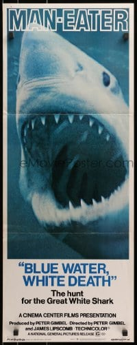 4f025 BLUE WATER, WHITE DEATH insert 1971 super close image of great white shark with open mouth!