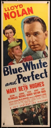 4f026 BLUE, WHITE & PERFECT insert 1941 Lloyd Nolan as Detective Michael Shayne, Mary Beth Hughes