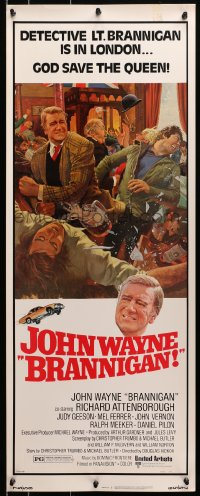 4f029 BRANNIGAN insert 1975 great Robert McGinnis art of fighting John Wayne in England!