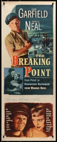 4f030 BREAKING POINT insert 1950 super c/u of John Garfield & Patricia Neal, Ernest Hemingway!
