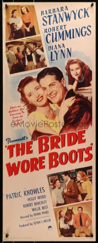 4f032 BRIDE WORE BOOTS insert 1946 romantic close up of Barbara Stanwyck & Robert Cummings!