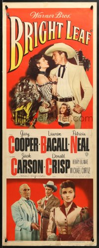 4f033 BRIGHT LEAF insert 1950 Gary Cooper, sexy Lauren Bacall, Patricia Neal, Michael Curtiz