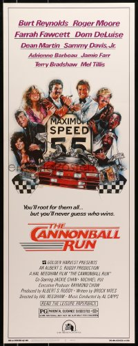 4f037 CANNONBALL RUN insert 1981 Burt Reynolds, Farrah Fawcett, Drew Struzan car racing art!