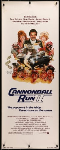 4f038 CANNONBALL RUN II insert 1984 great Drew Struzan art of Burt Reynolds, Dean Martin & girls!