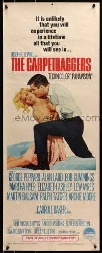 4f039 CARPETBAGGERS insert 1964 great image of George Peppard & Carroll Baker!