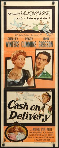 4f041 CASH ON DELIVERY insert 1956 Shelley Winters, Peggy Cummins, John Gregson, English!
