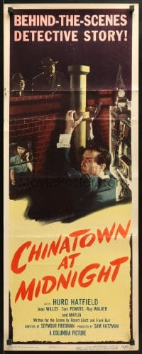 4f047 CHINATOWN AT MIDNIGHT insert 1950 Jean Willes, Hurd Hatfield in San Francisco w/gun!