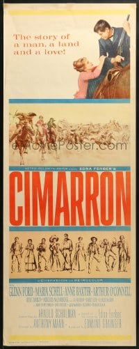 4f048 CIMARRON insert 1960 directed by Anthony Mann, Glenn Ford, Maria Schell, cool artwork!