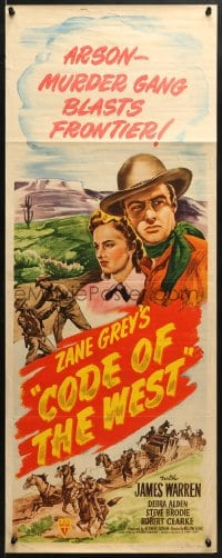 4f050 CODE OF THE WEST insert 1947 Zane Grey, James Warren, Debra Alden, Steve Brodie!