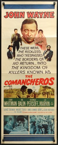 4f051 COMANCHEROS insert 1961 artwork of cowboy John Wayne, directed by Michael Curtiz!