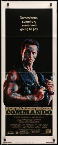 4f052 COMMANDO insert 1985 Arnold Schwarzenegger is going to make someone pay!