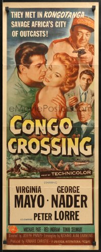4f053 CONGO CROSSING insert 1956 Peter Lorre pointing gun at Virginia Mayo & George Nader!