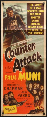 4f055 COUNTER-ATTACK insert 1945 Paul Muni & Marguerite Chapman fight the Nazis in World War II!