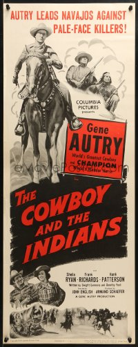 4f056 COWBOY & THE INDIANS insert R1954 images of Gene Autry riding Champion & playing guitar!