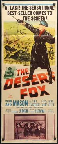 4f064 DESERT FOX insert 1951 artwork of James Mason as Field Marshal Erwin Rommel at war!