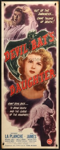 4f067 DEVIL BAT'S DAUGHTER insert 1946 Rosemary La Planche, blood red lips hungry for love!