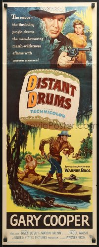 4f068 DISTANT DRUMS insert 1951 cool artwork of Gary Cooper in the Florida Everglades!