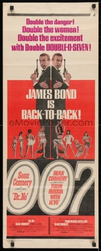4f069 DR. NO/FROM RUSSIA WITH LOVE insert 1965 Connery is James Bond, double danger & excitement!