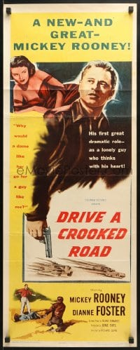 4f071 DRIVE A CROOKED ROAD insert 1954 Mickey Rooney needed no-good Dianne Foster & she needed money!