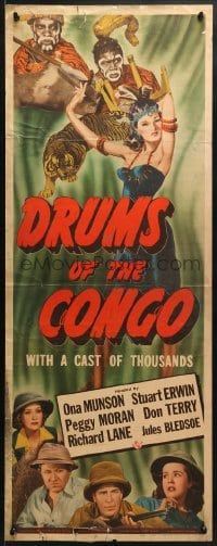 4f072 DRUMS OF THE CONGO insert 1942 Ona Munson, Moran, Bey, where none come back alive, rare!