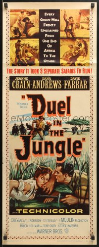 4f073 DUEL IN THE JUNGLE insert 1954 Dana Andrews, sexy Jeanne Crain, African adventure artwork!