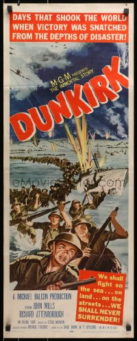 4f074 DUNKIRK insert 1958 great World War II art of thousands of armed soldiers evacuating the city!
